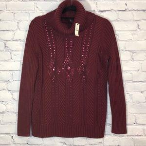 NWT Talbots Plus Size 1x Burgundy Knit Sweater